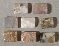 Five rectangle beads from pietersite.