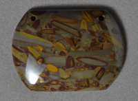 Large double drilled palm jasper pendant bead.