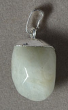 Jade nugget pendant with white copper bale.