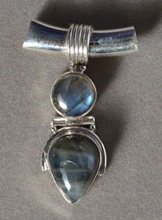 Pendant with two labradorite cabochons.