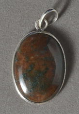 Green and brown jasper pendant.