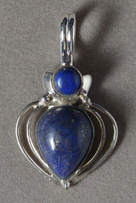 Blue lapis pendant with sterling silver bale.