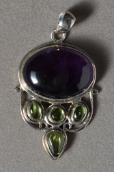 Amethyst and peridot pendant with sterling silver.