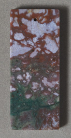 Large flat rectangle pendant bead from multi color agate.