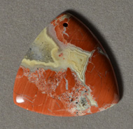 Flame jasper rounded triangle pendant bead.