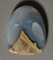 Mexican agate shield pendant bead.