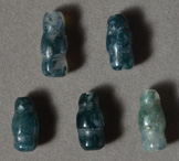 Moss agate bottle shaped beads.