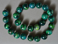 Strand of large round beads from chrysocolla.