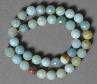 Multi color faceted amazonite round beads