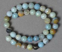 10mm faceted multi-color amazonite round beads.