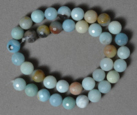 Faceted multi-color amazonite 10mm round beads
