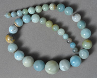 Multi-color amazonite graduated 8 to 20mm round beads.