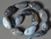 Large chalcedony agate tumbled nugget beads.