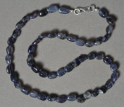 Iolite oval nugget beads strand/necklace.