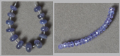 Four sets of tanzanite rondelle beads.