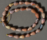Agate and jasper  teardrop beads.