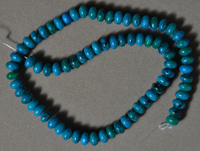 Rondelle beads from blue and green phoenix stone.
