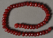 Ruby quartz faceted rondelle beads.