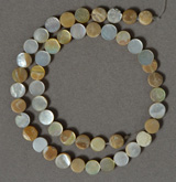 Mother of pearl coin bead strand.