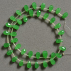Green quartz faceted drop beads.