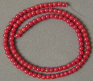 Red coral round beads