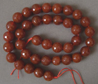 Red agate faceted beads