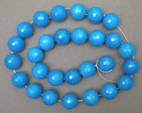 Large faceted round beads from blue jade.