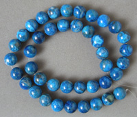 Opaque round beads from blue agate.
