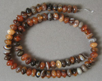 Rondelle beads from brown banded agate.