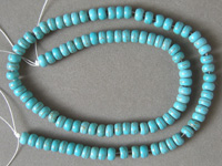 Rondelle beads from blue turquoise.