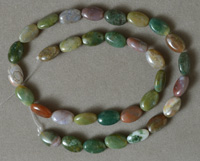 Flat oval beads from imperial jasper.