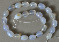 Barrel beads from blue chalcedony.
