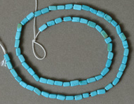 Brick beads from blue turquoise.