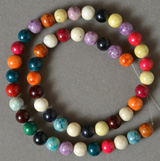 Round beads in several colors from Brazil.