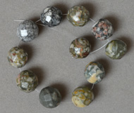 12mm faceted crinoid fossil round beads.