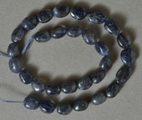 Small nugget beads from blue iolite.