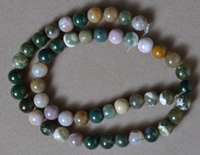 8mm round beads from multi color moss agate.