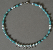Crystal, glass and turquoise necklace